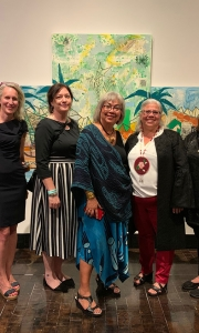 L to R: Teri Greeves and Jill Ahlberg Yohe (the curators), America Meredith (advisor board), Dorothy Grant (artist), Heather Ahtone (advisory board), Sonya Kelliher-Combs (artist) and Rosalie Favell (artist)