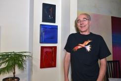 Paul Gardner with Robert Houle paintings, 2012.